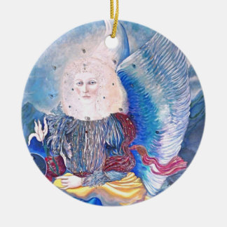ornamento del navidad del ángel adorno navideño redondo de cerámica
