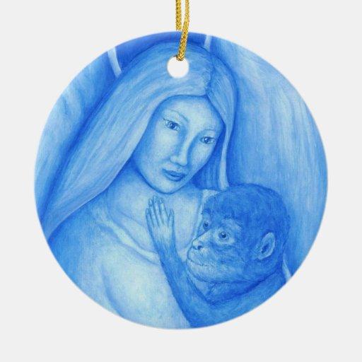 Ornamento del navidad del ángel azul y del mono ornatos