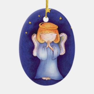 Ornamento del navidad del ángel de Girlie Adorno Navideño Ovalado De Cerámica