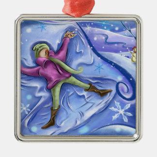 Ornamento del navidad del ángel de la nieve adorno navideño cuadrado de metal