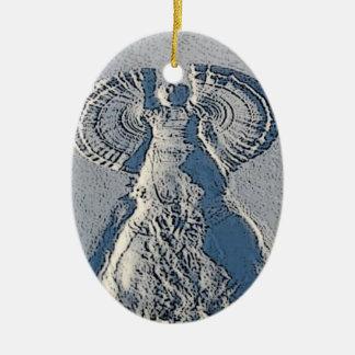 Ornamento del navidad del ángel de la nieve adorno navideño ovalado de cerámica