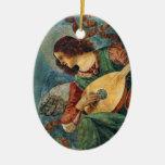 Ornamento del navidad del ángel del navidad adorno navideño ovalado de cerámica