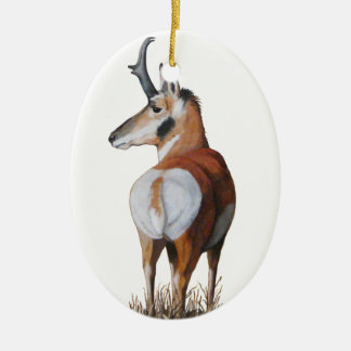 Ornamento del navidad del antílope adorno ovalado de cerámica