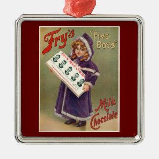 Ornamento del navidad del anuncio del chocolate adorno cuadrado plateado