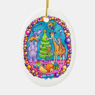 """""""Ornamento del navidad del árbol de familia"""" Adorno Navideño Ovalado De Cerámica"""