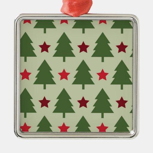 Ornamento del navidad del árbol del día de fiesta adorno cuadrado plateado