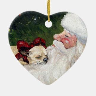 Ornamento del navidad del arte de la chihuahua y adorno navideño de cerámica en forma de corazón