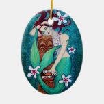 Ornamento del navidad del arte de la fantasía de adorno navideño ovalado de cerámica