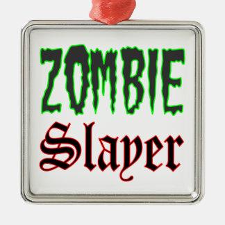 Ornamento del navidad del asesino del zombi adorno cuadrado plateado
