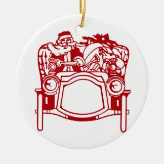 Ornamento del navidad del automóvil de Santa del Adorno Redondo De Cerámica