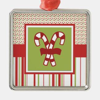 Ornamento del navidad del bastón de caramelo adorno navideño cuadrado de metal