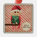 Ornamento del navidad del bastón de caramelo del adorno navideño cuadrado de metal