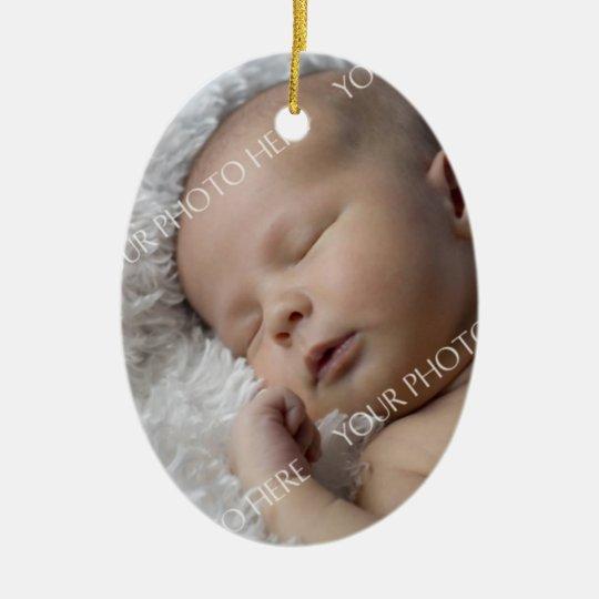 Ornamento del navidad del bebé de la foto 1r adorno navideño ovalado de cerámica