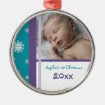 Ornamento del navidad del bebé de la foto 1r adorno de reyes