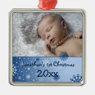 Ornamento del navidad del bebé de la foto 1r adorno cuadrado plateado