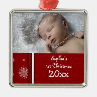 Ornamento del navidad del bebé de la foto 1r ornamento para arbol de navidad
