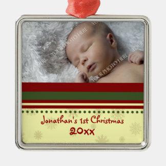 Ornamento del navidad del bebé de la foto 1r adorno
