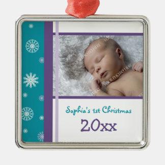 Ornamento del navidad del bebé de la foto 1r ornamentos para reyes magos