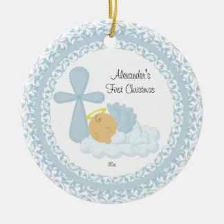 Ornamento del navidad del bebé del ángel del bebé adorno navideño redondo de cerámica