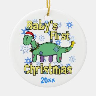 Ornamento del navidad del bebé del Apatosaurus Adorno Navideño Redondo De Cerámica
