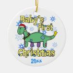 Ornamento del navidad del bebé del Apatosaurus pri Adornos
