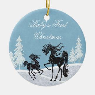 Ornamento del navidad del bebé del caballo de la s ornatos