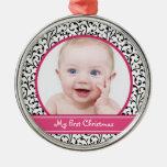 Ornamento del navidad del bebé del damasco primer ornamentos de reyes