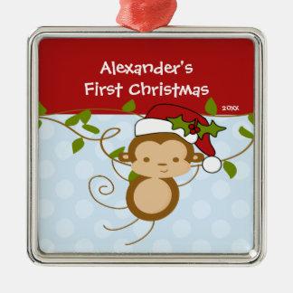 Ornamento del navidad del bebé del mono de Santa Adorno Navideño Cuadrado De Metal