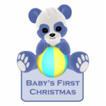 Ornamento del navidad del bebé del oso de panda pr escultura fotográfica