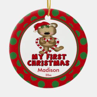 Ornamento del navidad del bebé del oso del corazón ornamente de reyes