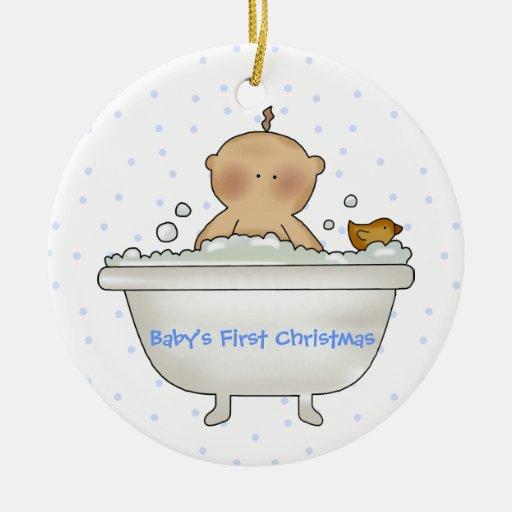 Ornamento del navidad del bebé del tiempo del baño adorno redondo de cerámica