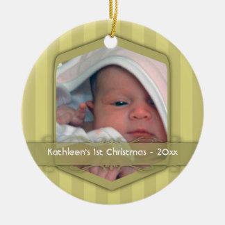 Ornamento del navidad del bebé rayado del oro adorno navideño redondo de cerámica