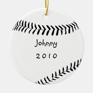 Ornamento del navidad del béisbol adorno navideño redondo de cerámica