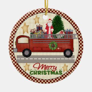 Ornamento del navidad del bombero adorno redondo de cerámica