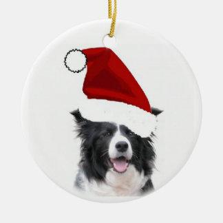 Ornamento del navidad del border collie adorno navideño redondo de cerámica