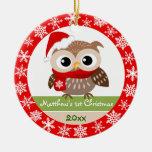 Ornamento del navidad del búho del bebé 1r adorno navideño redondo de cerámica