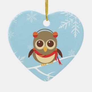 Ornamento del navidad del búho del invierno adorno