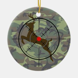 Ornamento del navidad del camuflaje de la caza de adorno navideño redondo de cerámica