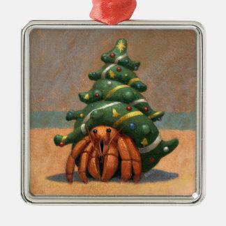 Ornamento del navidad del cangrejo de ermitaño adorno navideño cuadrado de metal