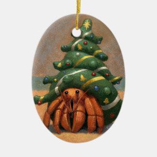 Ornamento del navidad del cangrejo de ermitaño adorno navideño ovalado de cerámica
