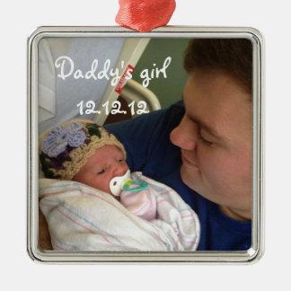 Ornamento del navidad del chica del nuevo papá del adorno navideño cuadrado de metal