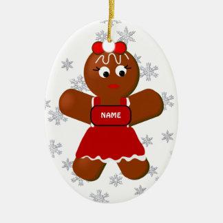 Ornamento del navidad del chica del pan de adorno ovalado de cerámica