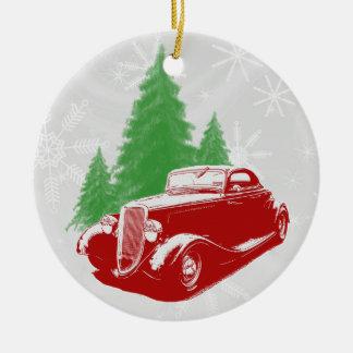Ornamento del navidad del coche de carreras adorno navideño redondo de cerámica