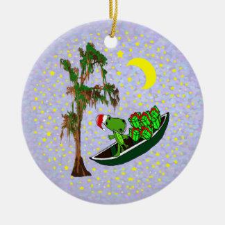 Ornamento del navidad del cocodrilo de Cajun Santa Adorno Redondo De Cerámica