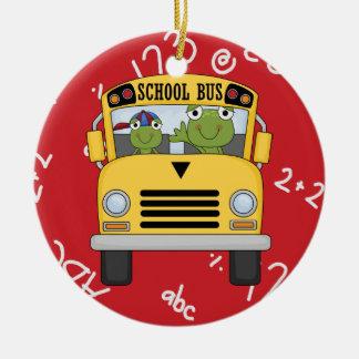 Ornamento del navidad del conductor del autobús adorno navideño redondo de cerámica