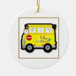 Ornamento del navidad del conductor del autobús es ornamentos de navidad