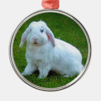 ornamento del navidad del conejo adorno navideño redondo de metal