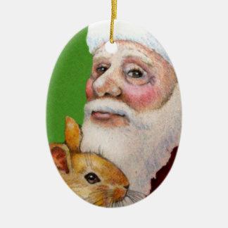 Ornamento del navidad del conejo de Santa Adorno Ovalado De Cerámica