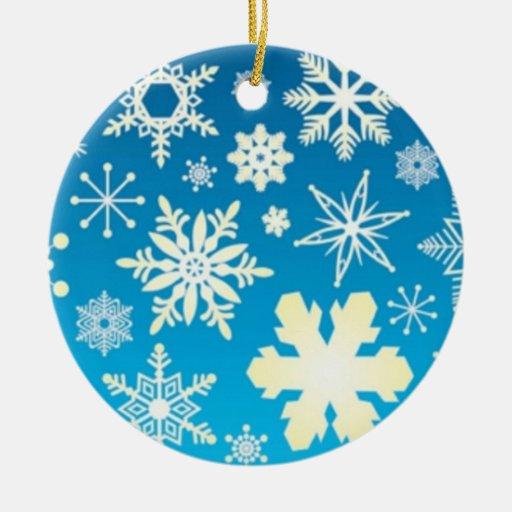 Ornamento del navidad del copo de nieve adorno navideño redondo de cerámica