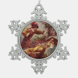 Ornamento del navidad del copo de nieve de la bell adorno de peltre en forma de copo de nieve